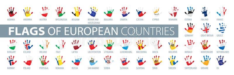 Main et drapeau national Illustration de vecteur d'un ensemble de drapeaux européens illustration de vecteur