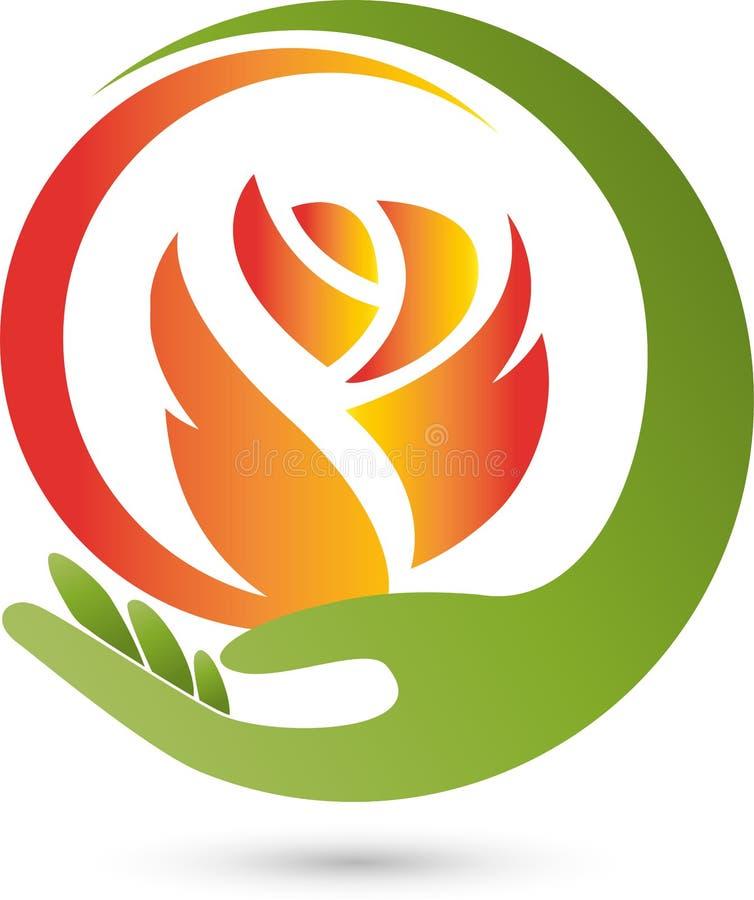 Main et fleur, rose, logo rose et de cadeaux illustration stock