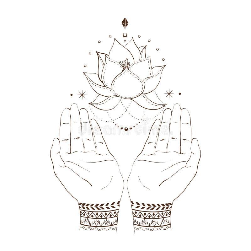 Main et lotos illustration libre de droits