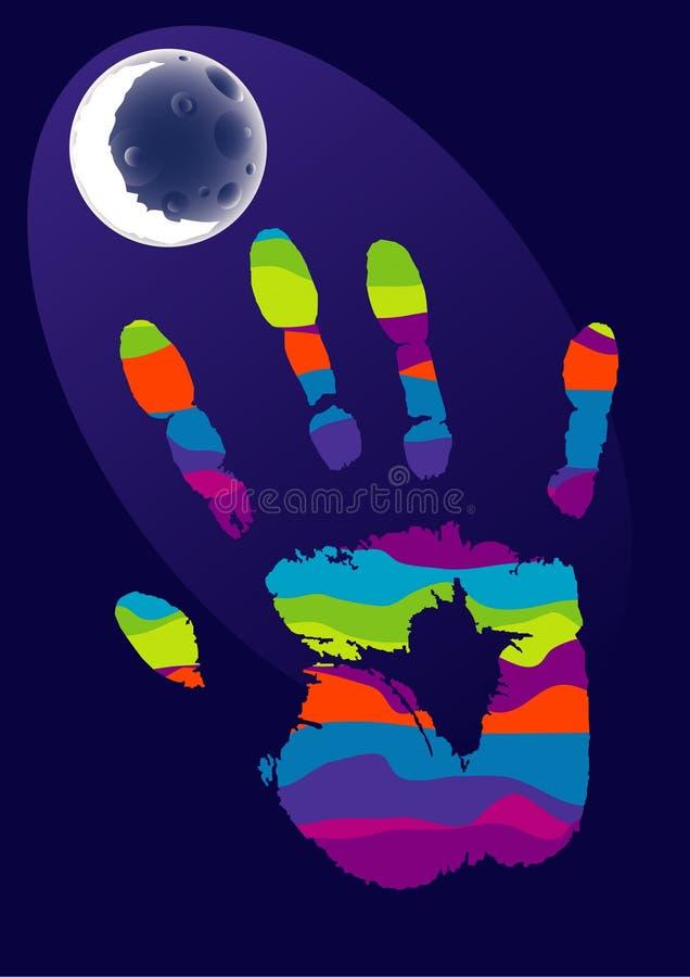 Main et lune illustration libre de droits