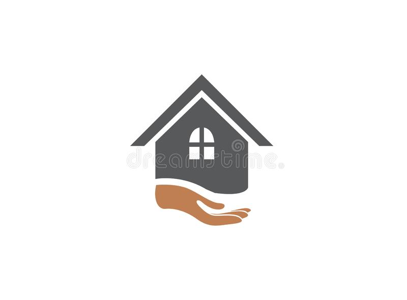 Main et maison pour l'illustration de conception de logo illustration stock