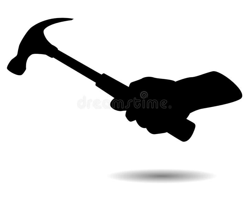 Main et marteau de silhouette illustration de vecteur