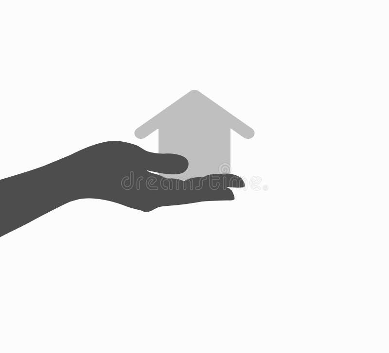 Main et plan rapproché d'icône de maison illustration libre de droits