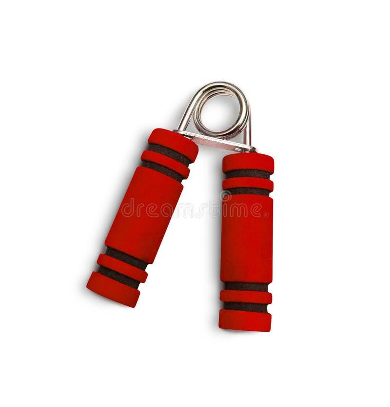 Main exerçant la couleur rouge de fléchisseur D'isolement sur le fond blanc photo stock