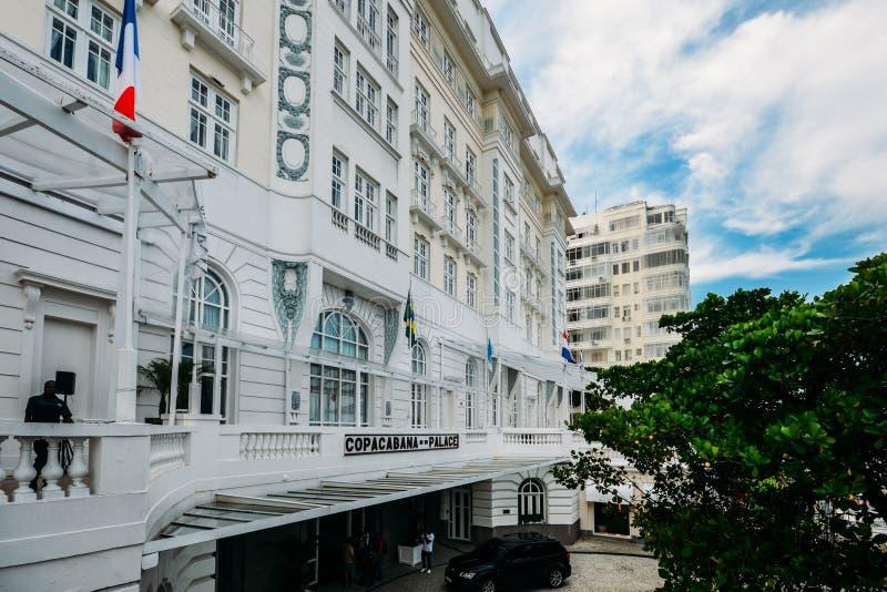 Main extrance to the luxurious Copacabana Palace Belmond in Copacabana, Rio de Janeiro, Brazil. Rio de Janeiro, Brazil, March 17, 2019: Main extrance to the stock photos