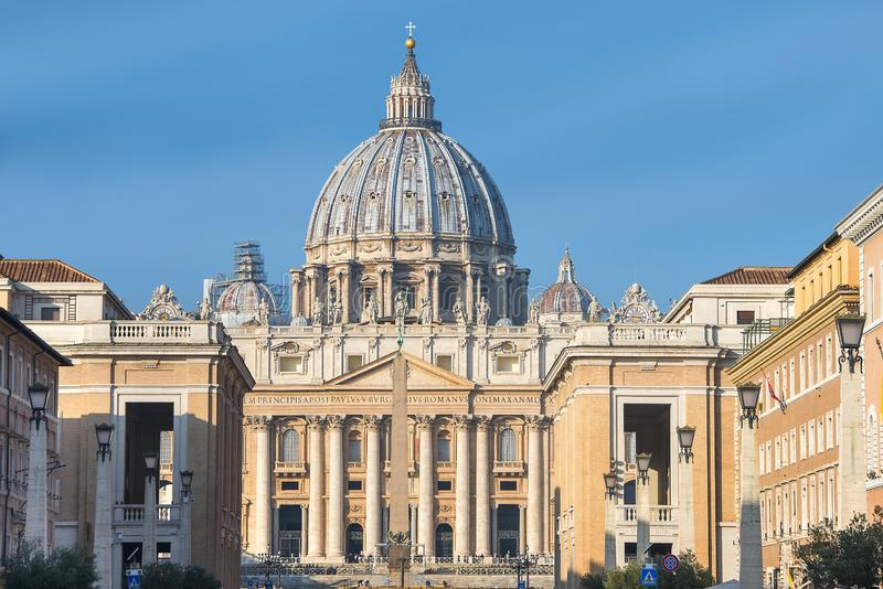 Main facade of the Basilica of St. Peter, Vatican City royalty free stock photography