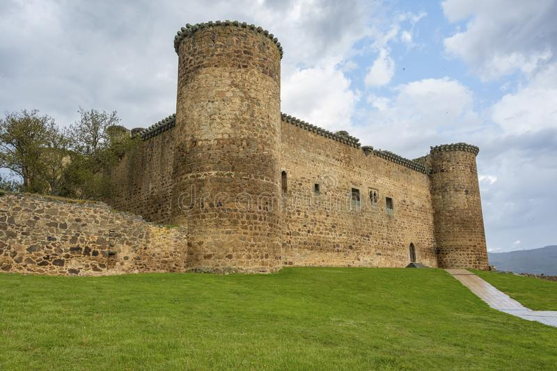 Main facade of the castle of the town of El Barco. Castilla la Mancha. Spain royalty free stock images