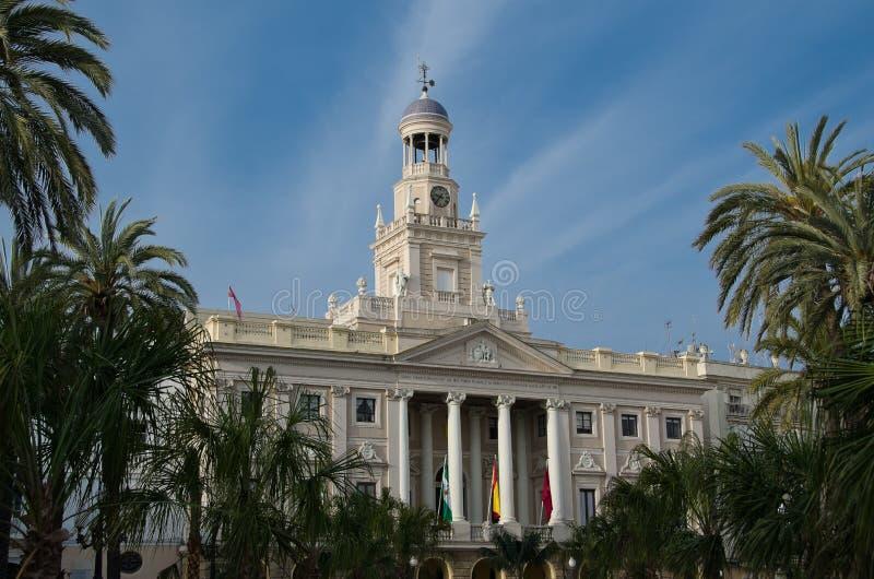 Main Facade Of The City Hall Of Cadiz Royalty Free Stock Image
