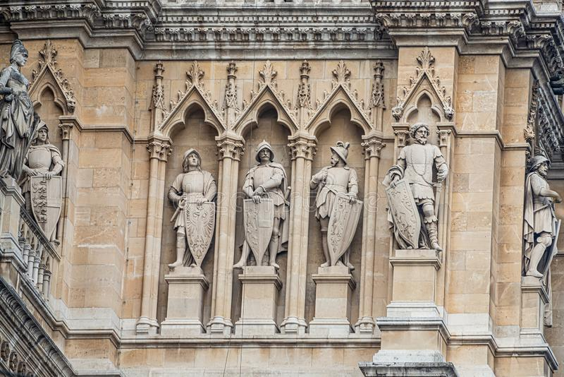 Main facade of City Hall Rathaus in Vienna with many figures and sculptures, Austria stock images