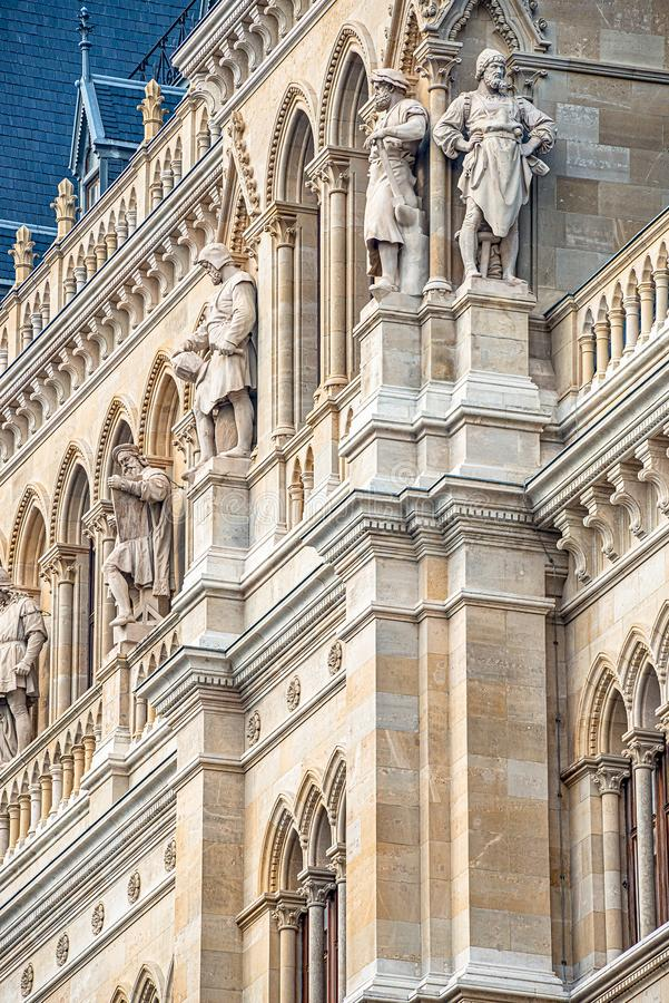 Main facade of City Hall Rathaus in Vienna with many figures and sculptures, Austria royalty free stock photography
