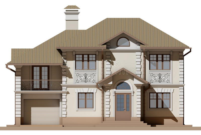 The main facade of a cottage in a classic style stock illustration