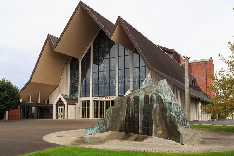 Entrance of Holy Trinity Cathedral, Auckland, New Zealand, and `mountain fountain` stock photos