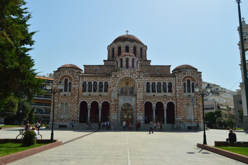 Main Facade Of The Orthodox Church Of San Nicolas. Architecture History Travel. July 4, 2018. Volos. Magnesia. Greece stock photography