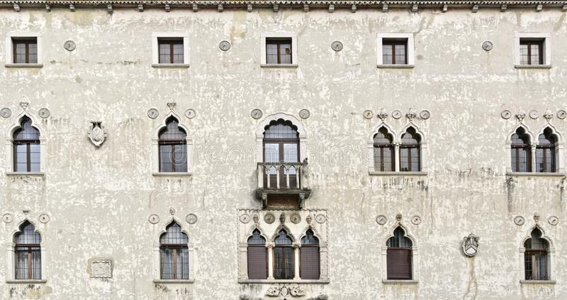 Palazzetto Veneziano - Old historical building in Udine. Main facade of the Palazzetto Veziano Venetian palace, old historical building in Udine, Italy stock images