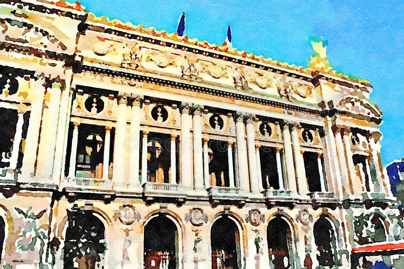 The main facade of the Paris Music Academy royalty free stock photography