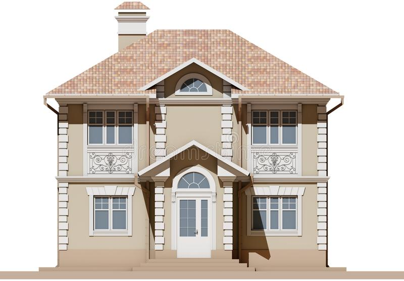 The main facade of a residential, beige and symmetrical house. 3D render vector illustration
