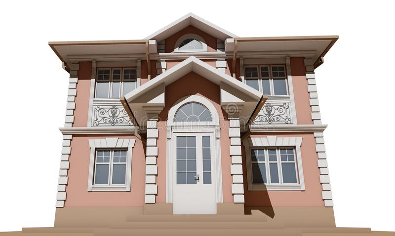 Download The Main Facade Of A Residential Pink And Symmetrical House. 3D Render Stock