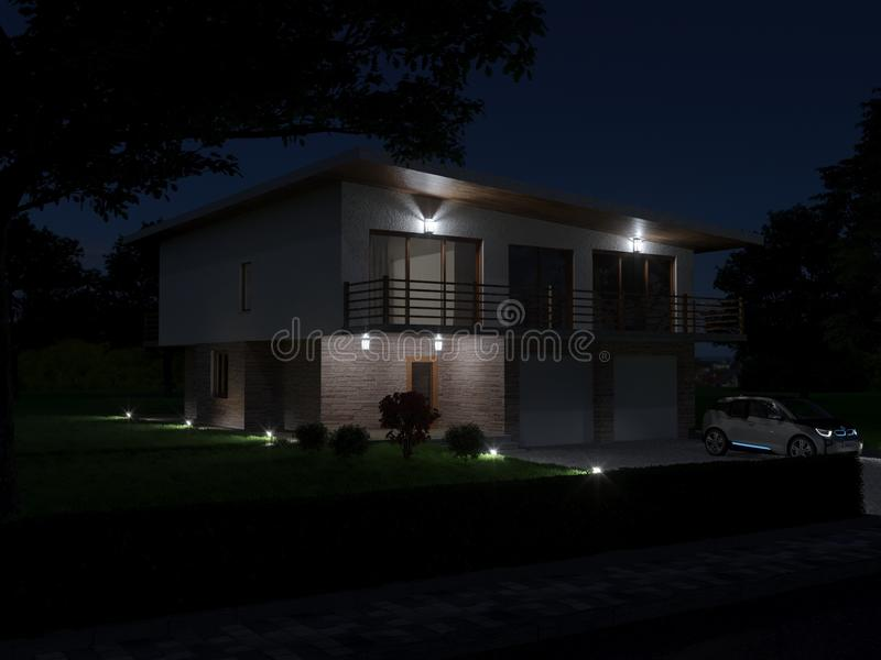 The main facade of the villa. Night view royalty free stock image