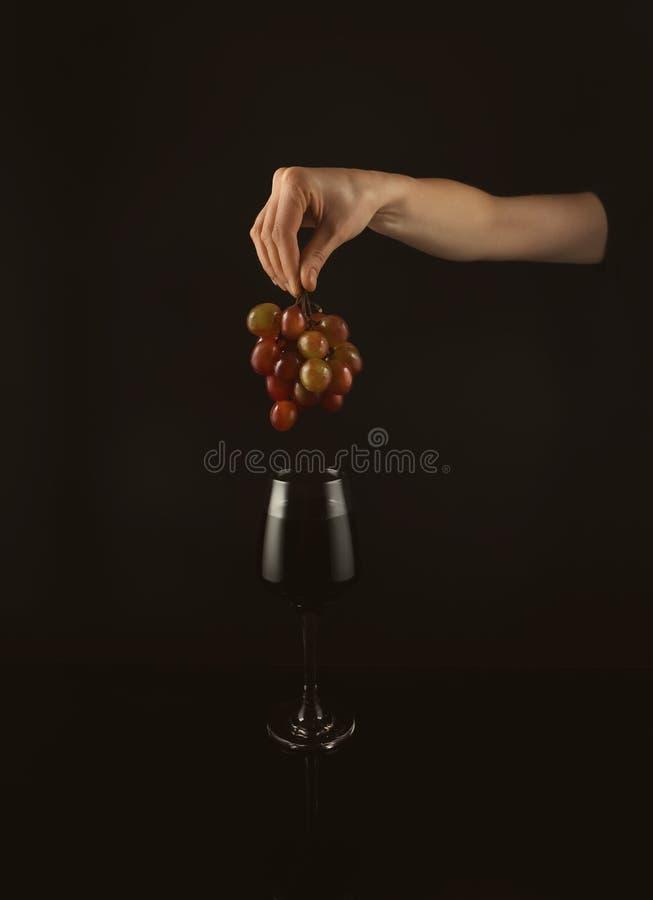 Main femelle avec des raisins au-dessus du verre de vin rouge sur le fond noir photos libres de droits