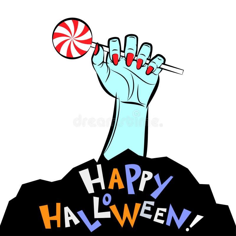 Main femelle avec la lucette et le texte Halloween heureux de sucrerie illustration stock
