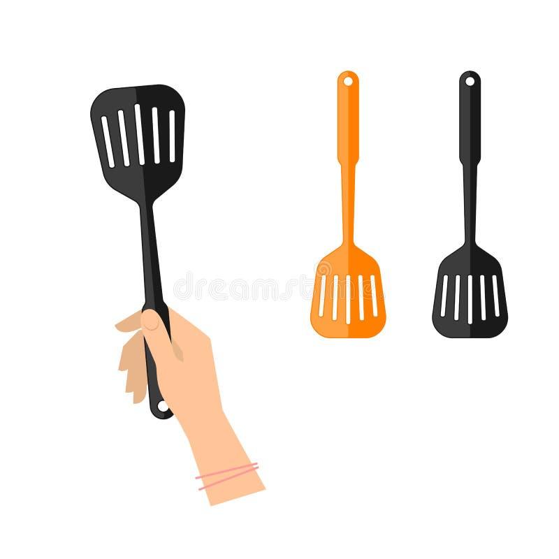 Main femelle avec la spatule encochée Ustensiles plats de cuisine de vecteur illustration libre de droits