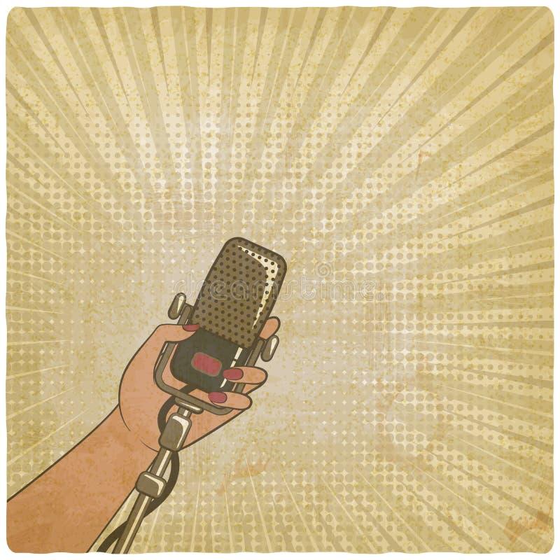 Main femelle avec le rétro microphone illustration de vecteur