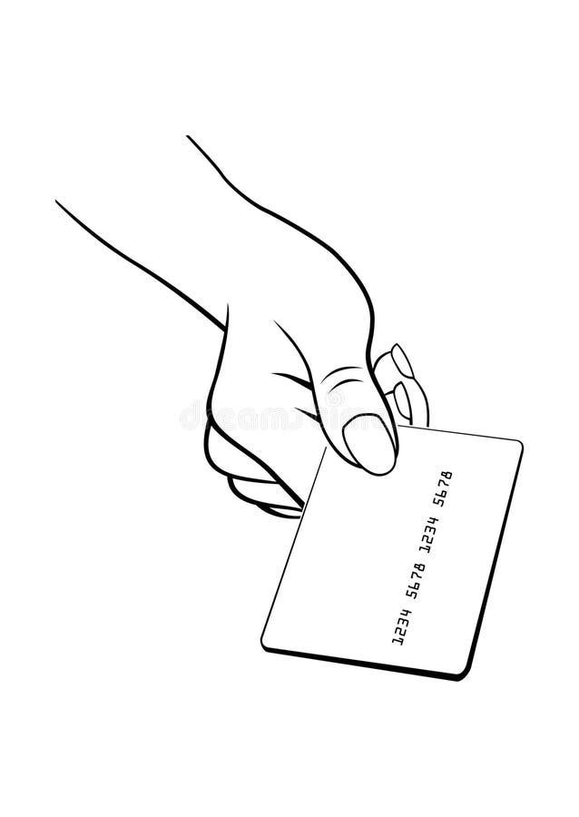 Main femelle avec par la carte de crédit illustration de vecteur