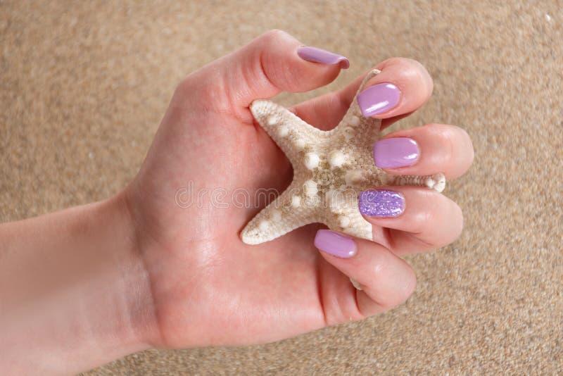 Main femelle avec une manucure lilas de couleur tenant les étoiles de mer et le sable de mer à l'arrière-plan photographie stock