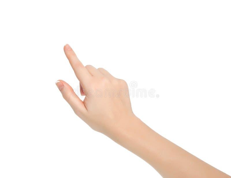 Main femelle d'isolement touchant l'indication quelque chose photo stock