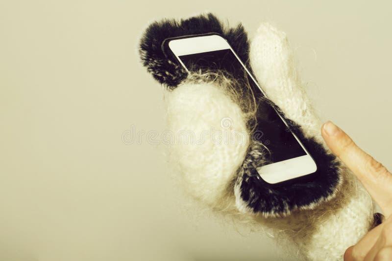 Main femelle dans des mitaines blanches tenant le smartphone dans la couverture de fourrure photo libre de droits