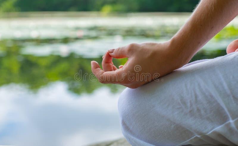 Main femelle en gros plan en position de lotus Yoga de pratique de femme et méditer photographie stock
