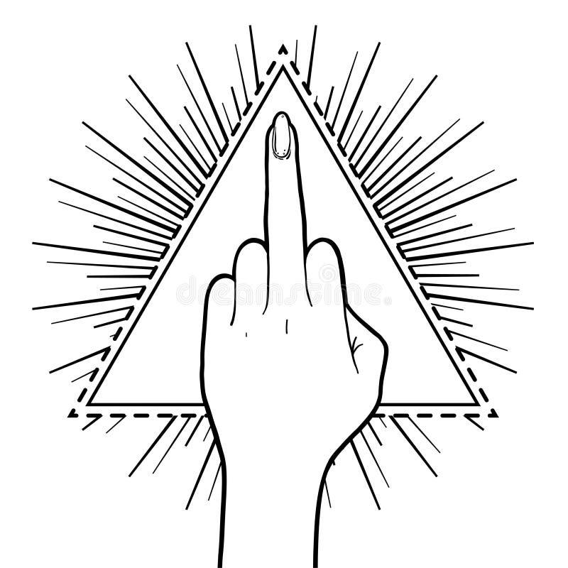 Main femelle montrant le doigt moyen au-dessus de la triangle avec des rayons Femin illustration stock