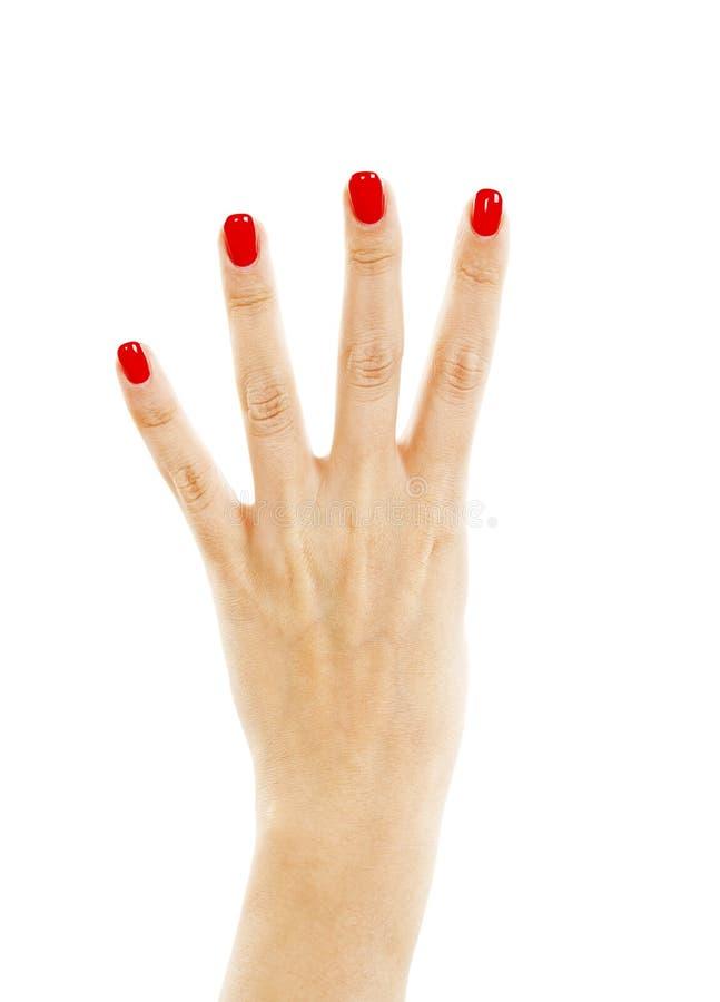 Main femelle montrant quatre doigts photo libre de droits