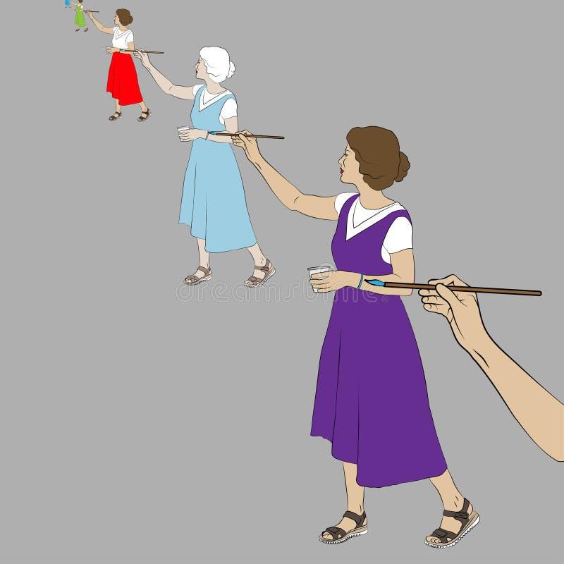Main femelle qui dessine une artiste de femme, qui dessine un artiste féminin qui photographie stock libre de droits