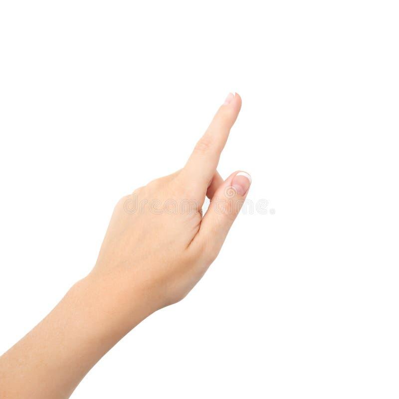 Main femelle sur d'isolement photographie stock