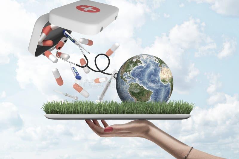 Main femelle tenant le globe de la terre avec des pilules, des seringues et des thermomètres numériques tombant hors de la trouss illustration libre de droits