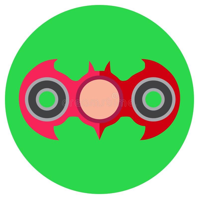 Main-fileur rose sous forme de batte Icône un style plat Image de vecteur sur un fond vert clair rond Élément de illustration stock