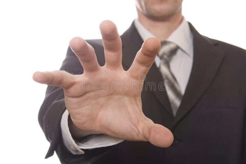 Main formée par bien d'hommes d'affaires images libres de droits