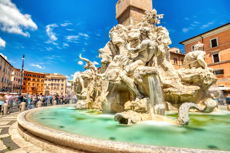 Main Fountain on Piazza Navona during a Sunny Day, Rome stock photography