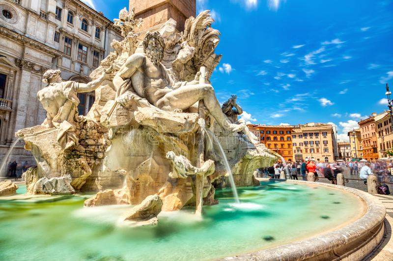 Main Fountain on Piazza Navona during a Sunny Day, Rome royalty free stock photography