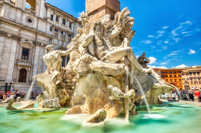 Main Fountain on Piazza Navona during a Sunny Day, Rome stock images