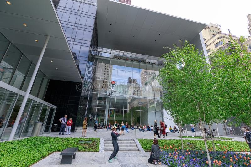 The main garden of MoMA, Museum of Modern Art in Manhattan, NYC. New York, USA - May 12, 2018 : The main garden of MoMA, Museum of Modern Art in Manhattan, NYC stock photography