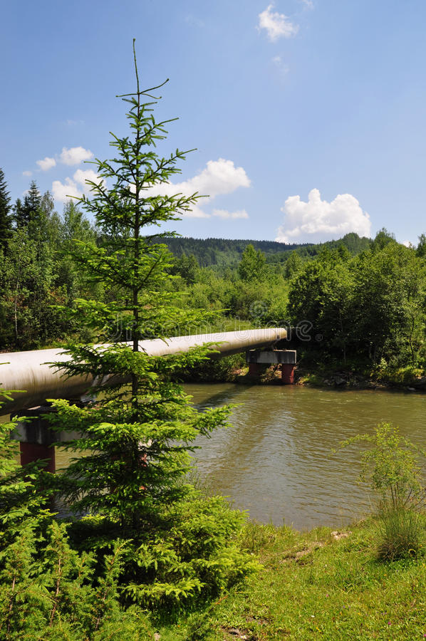 The main gas pipeline of a high pressure. stock photo