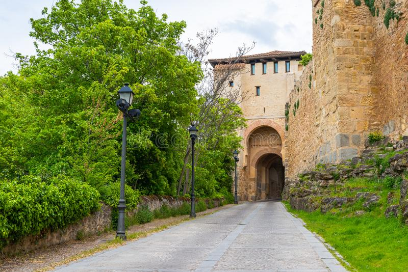 Main gate on the ancient walls of Segovia. Spain.  royalty free stock image