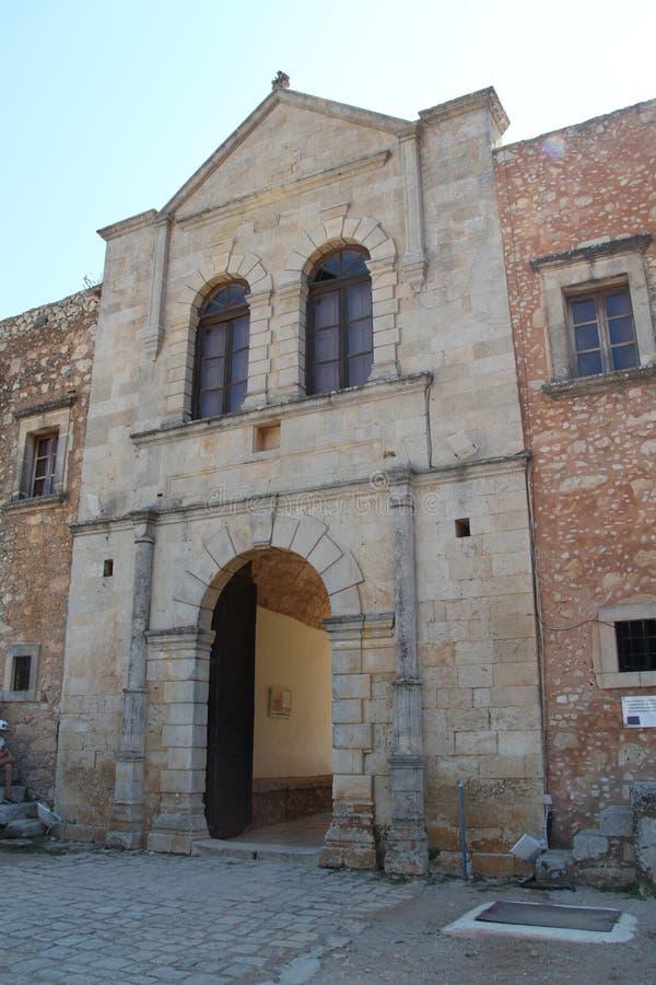 Main Gate of Arkadi monastery, Crete stock image