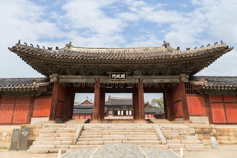 The main gate of Changgyeonggung Palace in Seoul. Honghwamun, the main gate of Changgyeonggung Palace in Seoul, South Korea, viewed from the front royalty free stock photography