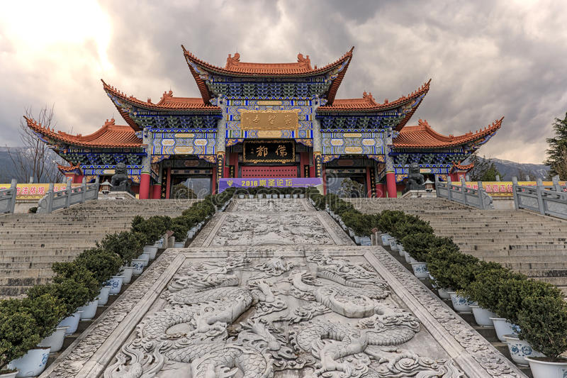 Main gate of Chongsheng temple The Three Pagodas temple, Dali, China, stock image