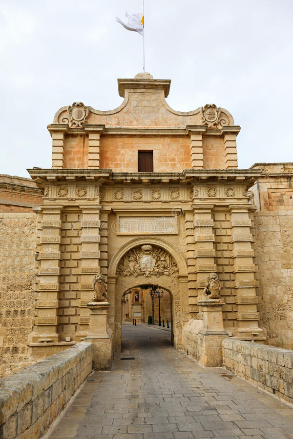 Main Gate city access to Mdina. In Malta 2013 stock photo