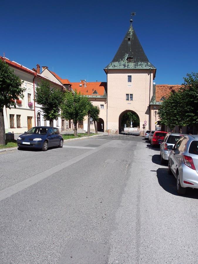 Main gate of Levoca town, Slovakia stock photography