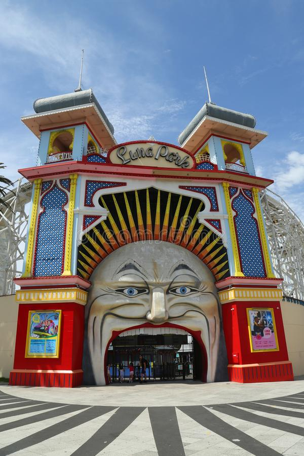 Main Gate of Luna Park, Melbourne royalty free stock photography
